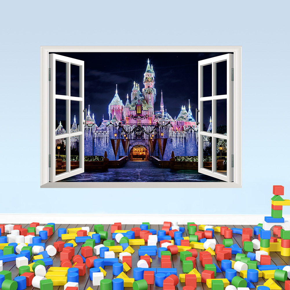 48*68cm Creative castle wall poster Home Decor PVC waterproof window stickers bedroom New Year's stickers 3D Fake Castle paster image