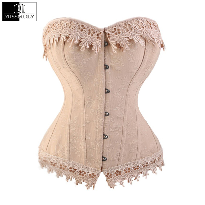 Lace Up Corsets Bustiers Overbust Waist Trainer Embroidery Sexy Boned White Beige Corset Burlesque Costumes Corselet Halloween
