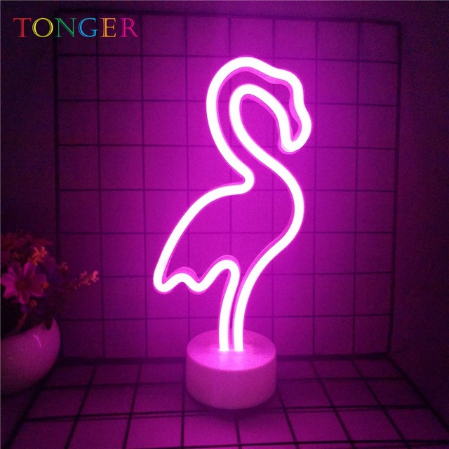 Tonger Flamingo Battery Operated For Home Wedding Christmas Decoration New Year Decor Neon Art Light