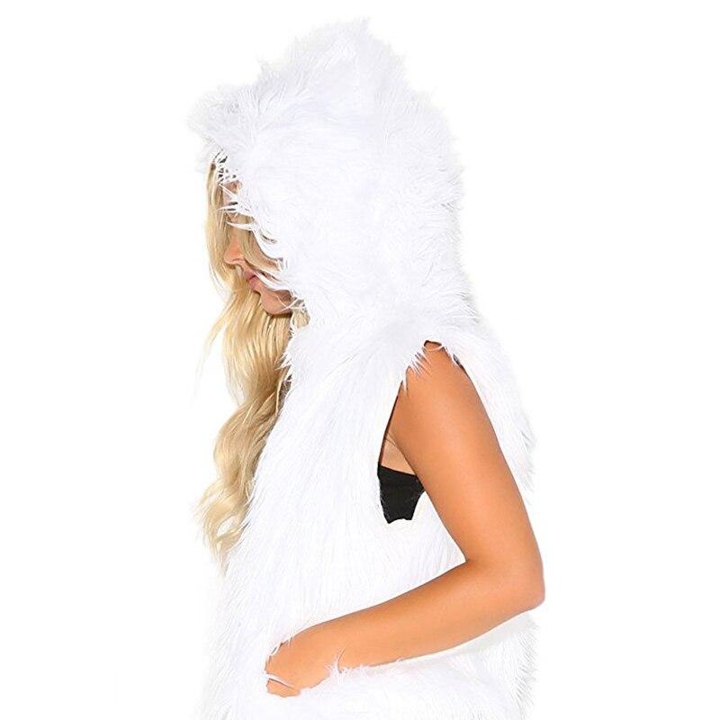 Lumière Costume Up Fourrure Gilet Pour Led Noël De 2018 Peluche Capot Enfants Chapeau Halloween Faux Femmes Animal Chaud Loup En wAYqx0a