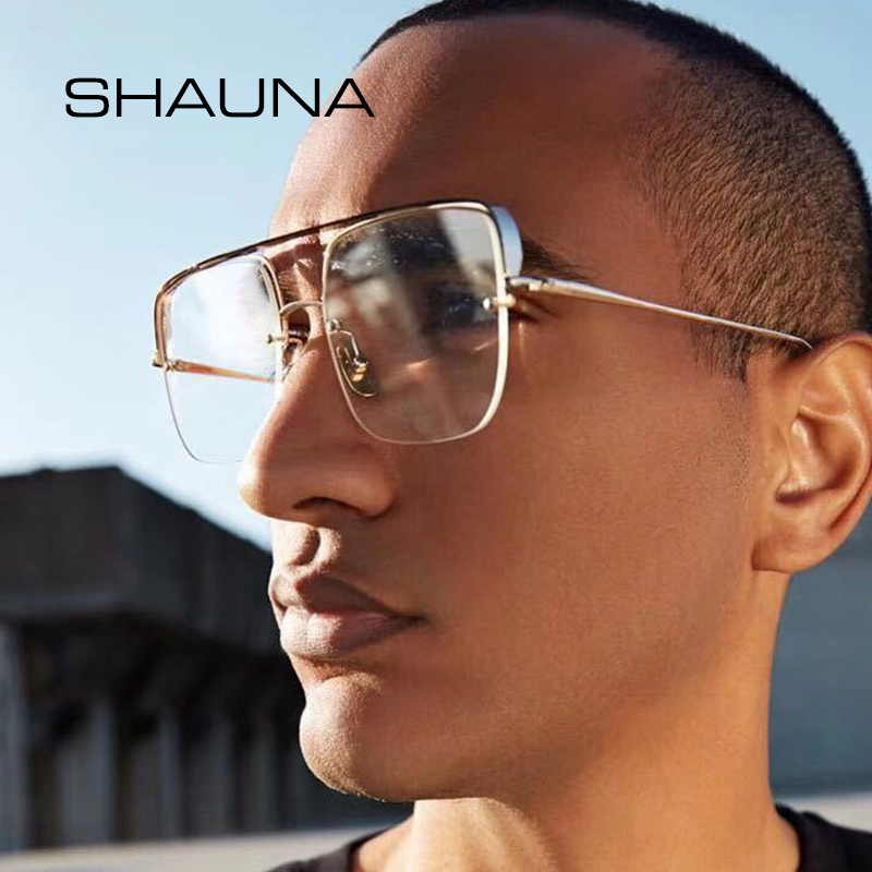 ba281756b4 Detail Feedback Questions about SHAUNA Retro Thick Half Frame Women Square  Sunglasses Fashion Clear Red Rimless Punk Style Eyeglasses Men on  Aliexpress.com ...