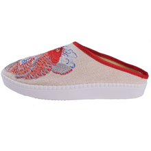 Chinese Women Slippers Canvas Linen Soft Red Fish Embroidered Comfort Ladies Cotton Platform Slides Shoes Plus Size 43