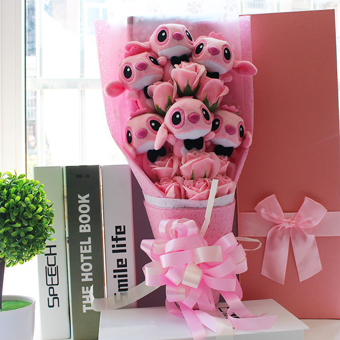 Lovely Cartoon Plush Toy Stitch Festival Gift Bouquet For Valentine Day Wedding