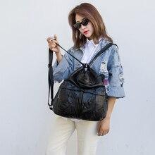 Women large black backpack fashionable multi-functional shoulder bag casual feminine daypack ultralight commuter LongLight
