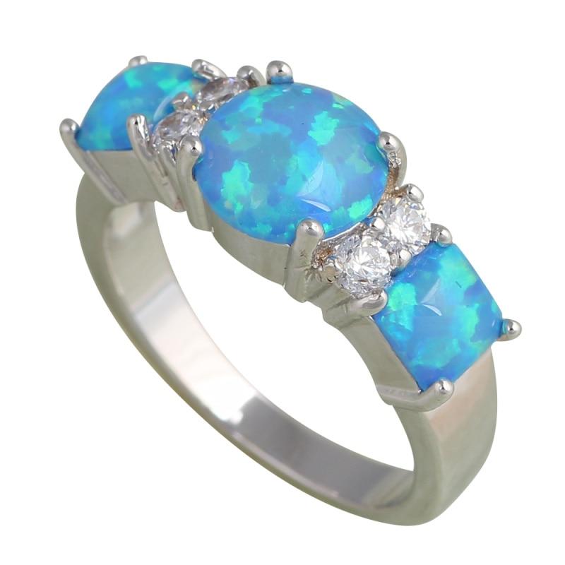 Lady Style Wholesale Blue Fire Opal Silver Stamped Fashion Jewelry Rings Opal Jewelry Usa Sz 7