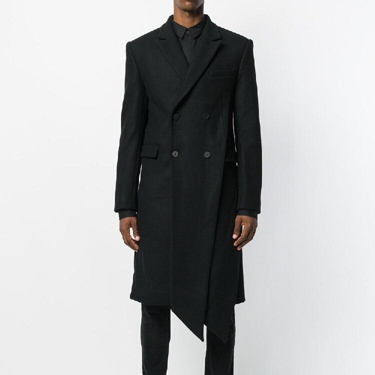 Заказ 2018 S 6XL! Для мужчин волос шерстяное пальто оригинальный нерегулярные дизайн колена плащ размер Для мужчин swear