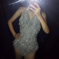 Sparkly Silver Tassel Women's Bodysuit Bling Rhinestones Sexy Costume Nightclub Stage Dance Show Party Celebrate Outfit Leotard