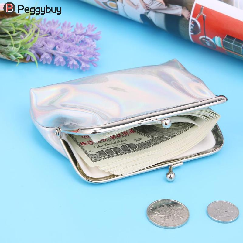 2018 Laser Patent Leather Holder Wallets Female Mini Coin Purse Ladies Party Clip Clutch Handbag Fashion Card Laser Girl Purses