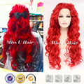 Рыжие волосы curl стиль синтетических огнезащитных волокна красного кружева перед парик