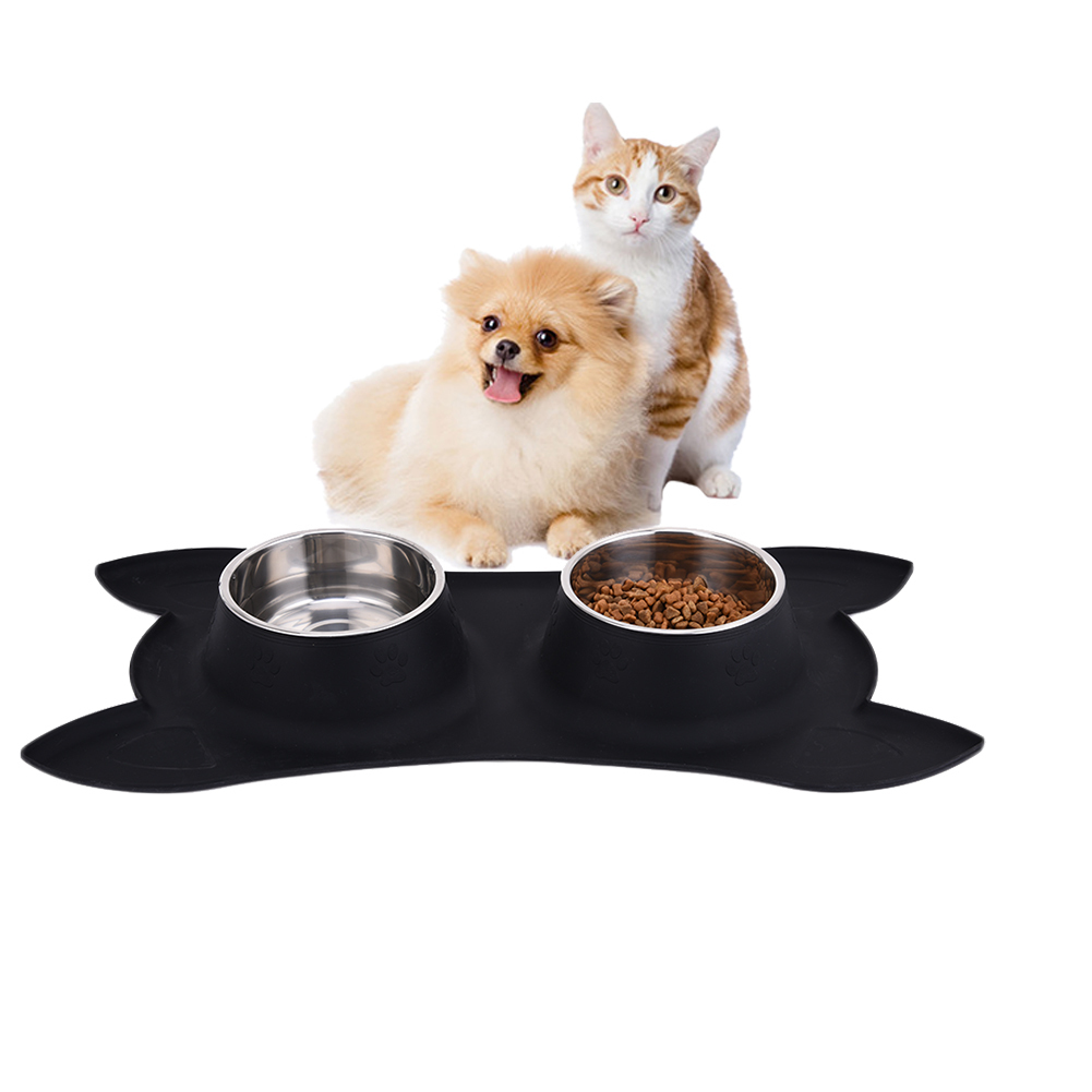 New Silicone Pet Double Bowls Newest Nonslip Stainless Steel Dog Head Bowl With No Spill Non-Skid Silicone Mat Pet Feed Product