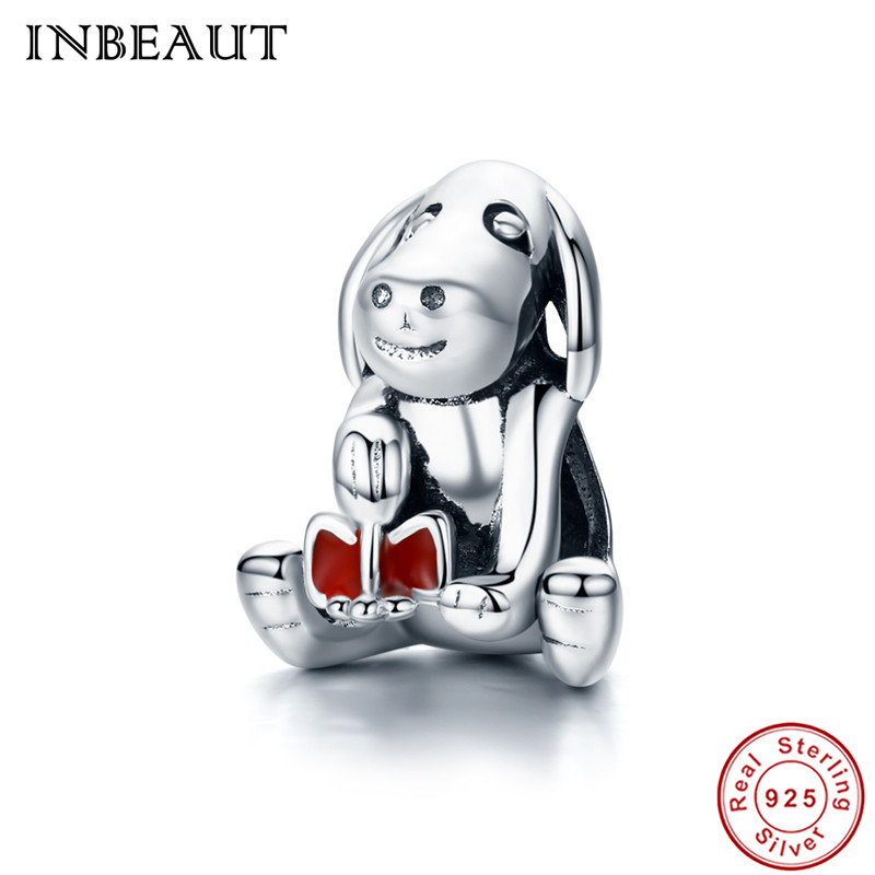 INBEAUT 100% Genuine 925 Sterling Silver Cute Trendy Little Dog Pendant Collar Beads fit Pandora Charms Bracelet for Women Gift