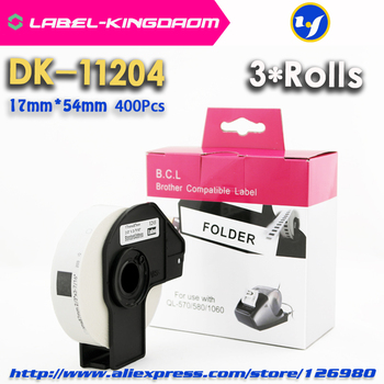 Etiqueta de DK-11204 Compatible con 3 rollos, 17mm * 54mm, Compatible con impresora de etiquetas Brother, todos vienen con soporte de plástico 400 uds/rollo