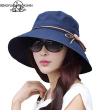BINGYUANHAOXUAN Stylish Sun Hats Foldable Butterfly Bow Wide Brim Floppy Summer For Women Outdoor UV Protection