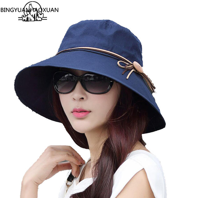 BINGYUANHAOXUAN Stylish Sun Hats Foldable Butterfly Bow Wide Brim Floppy  Floppy Summer Hats For Women Outdoor f88544f802b