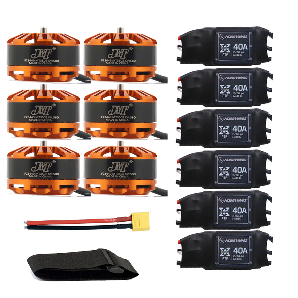 DIY 6-axis Aircraft Hexcopter Motor Combo 6pcs 3508 580kv Motor + 6pcs Hobbywing XRotor 40A ESC + XT60 Connector+Fastening Tape tarot tl68b14 6 axis aircraft hexcopter fy680 fy650 inverted battery rack ship with tracking number