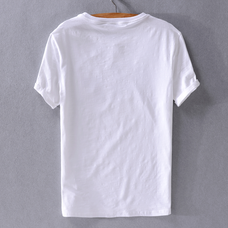 2019 Summer men's casual linen t-shirt embroidery loose white letters beach trend t shirt men white tops tshirt camisa chemise