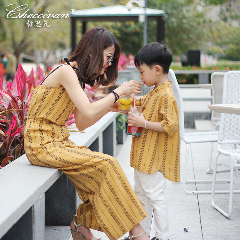 Family mom son T-shirt 2017 summer fashion mother and child clothes for mother and daughter print t-shirt mom daughter jumpsuit 2015 family summer stripe short sleeve t shirt shorts skirt set fashion sports clothes for mom and daughter free shipping a048