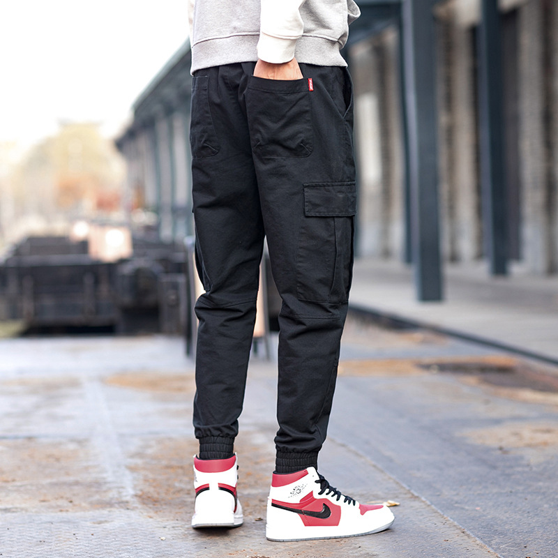 Spring New Mens Overalls Trousers Mens Wild Trend Solid color Multi-pocket Casual Pant Men Drawstring Waist Ankle Banded Pants