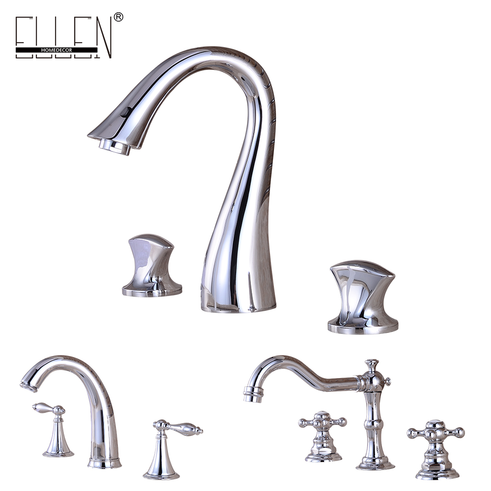 Фотография Bathroom Faucet 3 Hole Double Handle Solid Brass Waterfall Basin Sink Mixer Tap Widespread Chrome Finished