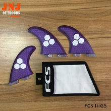 Purple FCS II G5 size fins made by fiberglass honey comb material for surfing (Tri-set) FCS 2 M with bag