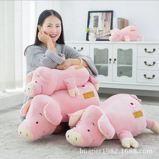 80cm Super elastic down cotton warm bed pink pig soft pillow doll plush toys pig doll Christmas gift soft plush pet dog bed house deep pink