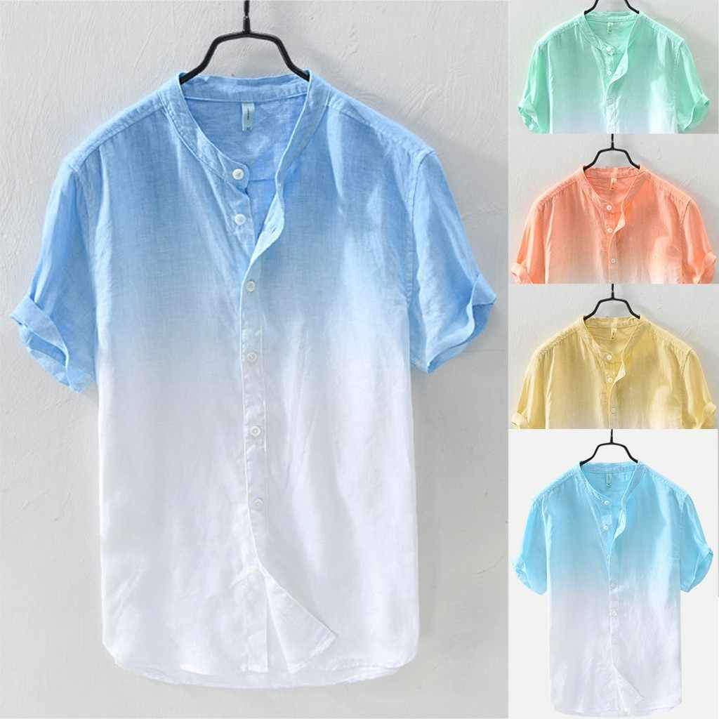 Men's Summer Thin T-Shirt Comfortable Breathable Stand Collar Gradient Linen Short Sleeve Loose Top Men's T-Shirt#10