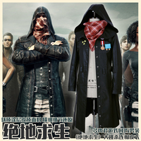 Game PUBG Cool Long Coat Jeans Boy Clothing Black Trench Cosplay Costume