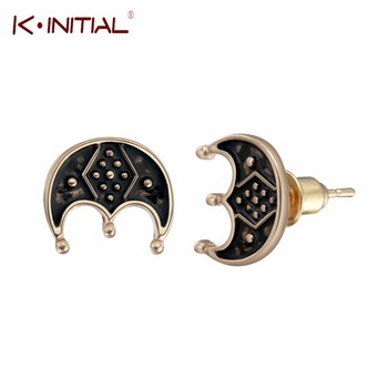 Kinitial Fashion Three-legged LUNULA Studs Earrings Scandinavian Norse Viking Symbol Earring Nothern Star Pagan Runes Jewelry image