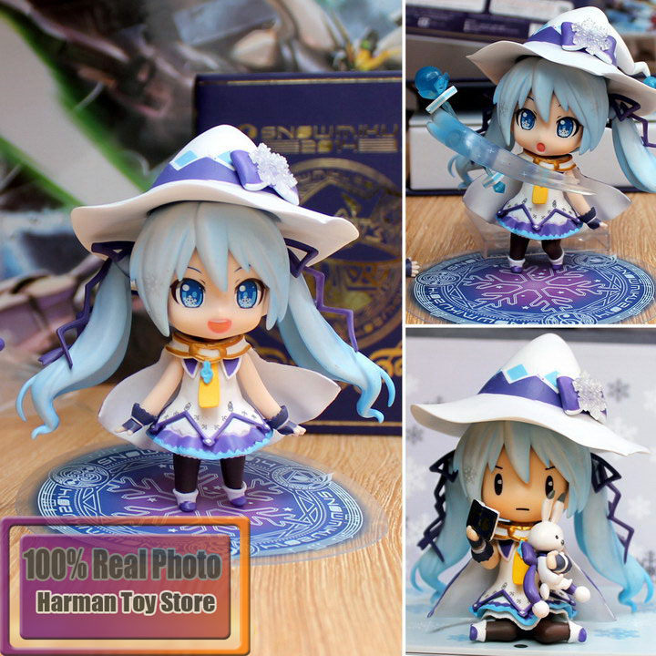 10cm Japanese anime figure Nendoroid Hatsune Miku Snow Miku Magical Snow Ver PVC Action Figure Collection Toy Doll Yukimiku hatsune miku nendoroid black rock shooter klinge miku pvc action figure anim q version of the 3 educational toys