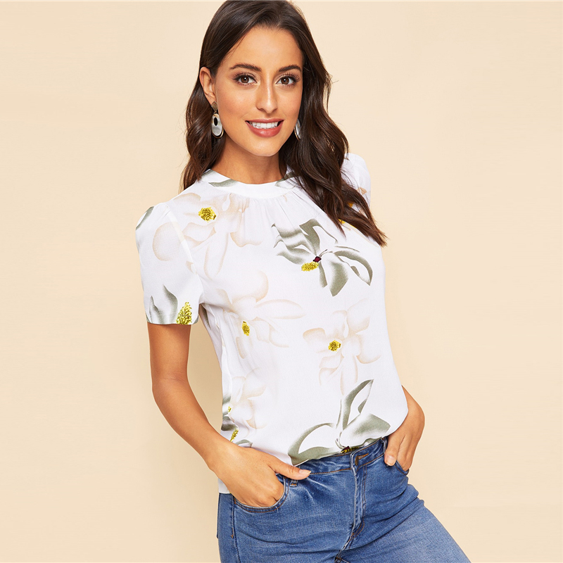 Back Pleated Floral Short Puff Sleeve Summer Blouse 10