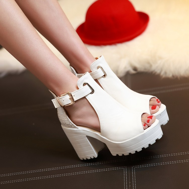 Big Size Summer Sandals Women 2017 Platform Female Thick Heel High Heels Peep Toe Sandals Shoes Women Sandalias Plataforma 9933 qplyxco 2017 big small size 32 46 peep toe ankle strap thick high heel sandals platform ladies shoes women sandal 2095