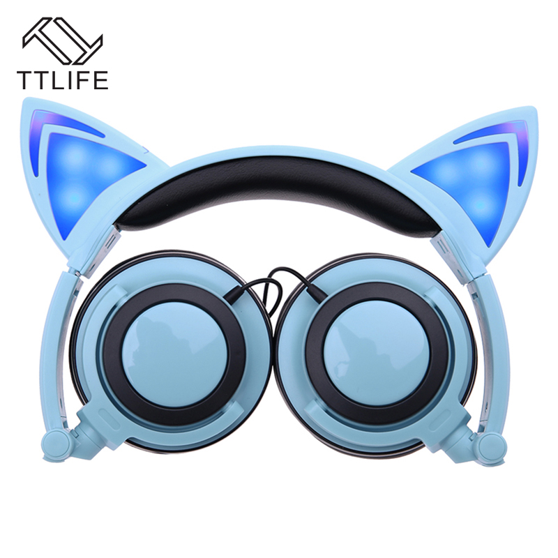 TTLIFE Foldable Flashing Glowing cat ear headphones Gaming Headset Earphone with LED light For PC Laptop Computer fone de ouvido high quality sound effect gaming headset with led light over ear glowing stereo headphones with mic for computer pc laptop gamer