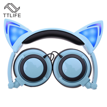 TTLIFE Foldable Flashing Glowing cat ear headphones Gaming Headset Earphone with LED light For PC Laptop Computer fone de ouvido