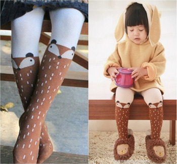 Baby Kids Girls Fox Stockings Pants Children Spring Autumn Pantyhose Cartoon Fox Cotton Soft Baby Girl Tights For Kid Kawaii tights