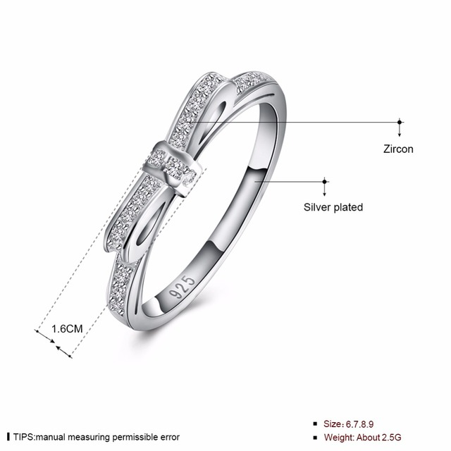 princess fashion Wedding bow tie ring Silver for WOMEN gift stone crystal Lady silver Ring jewelry engagement R992 STAMPED 925
