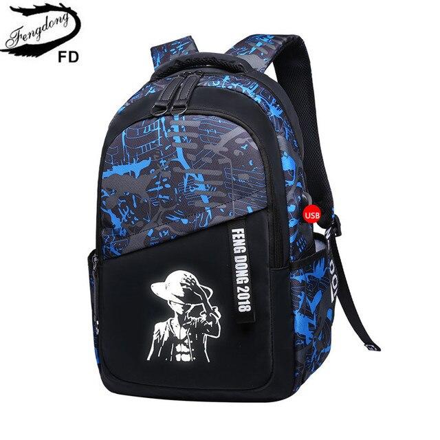 Fengdong Student School Backpack Bags For Boys Kids Book Bag Laptop Men Backbag