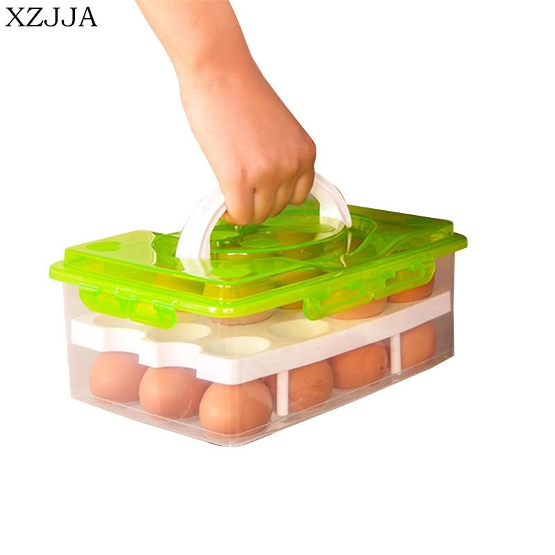 Xzjja Высокое качество 24 Сетка яйцо поле Еда контейнер для хранения Коробки двойной Слои Прочный Многофункциональный резким Кухня продукты