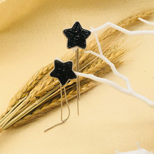 Cute Geometric Star Dangle Earring Fashion Bohemian Black Rhinestone Tassel Earrings For Women Jewelry Vintage