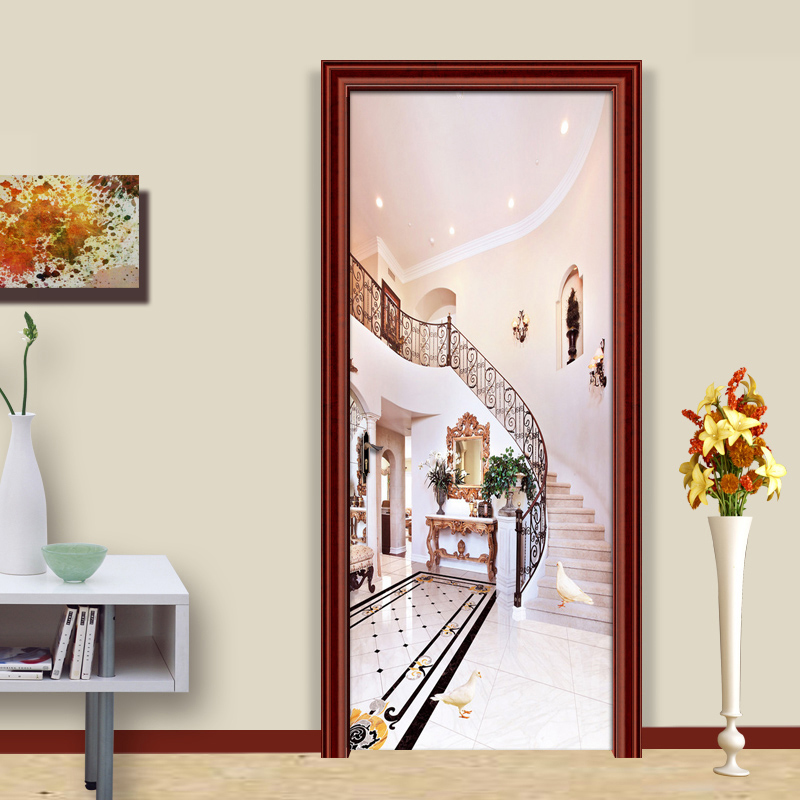 European Style Simple 3D Stairs Background Wall Painting Living Room Aisle Bedroom Door Sticker PVC Wall Mural Papel De Parede papel de parede european style simple