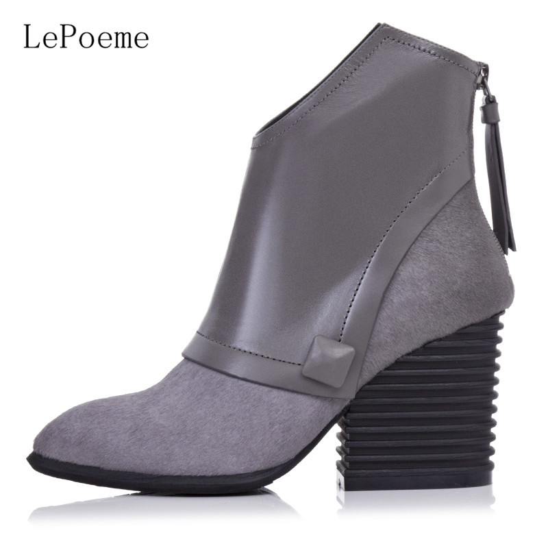 Genuine Leather Wedge Boots 2016 Autumn Winter Full Grain Leather High Heel Boots Black Rue Gray