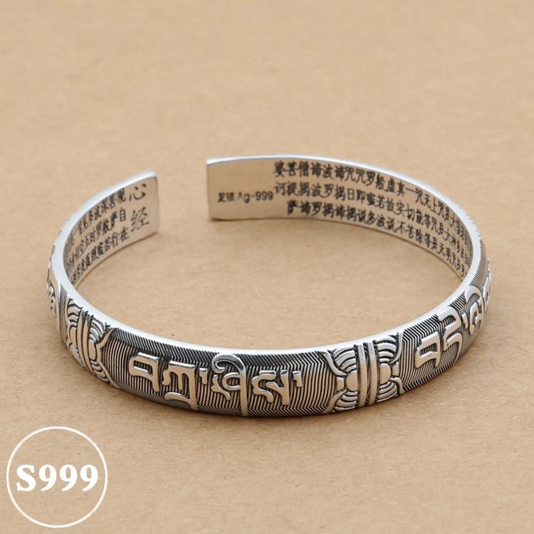купить NEW! Vintage 999 Silver Tibetan OM Mani Padme Hum Bangle Thai Silver OM Mantra Bangle Pure Silver Buddhist Words Bangle онлайн