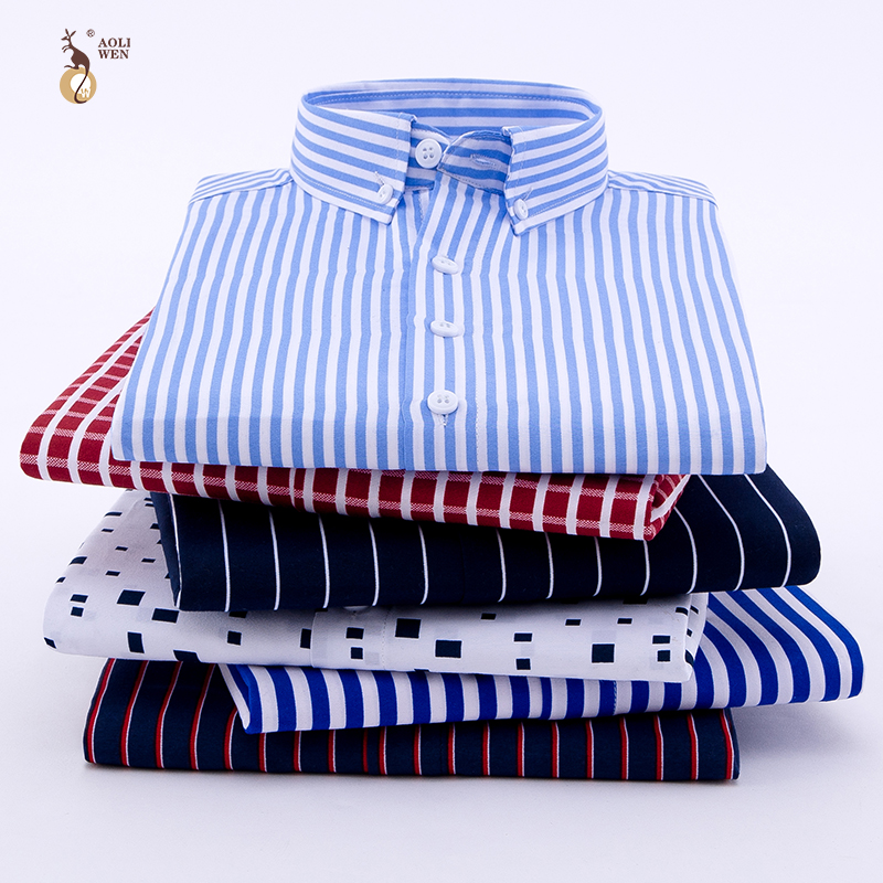 Aoliwen 2019 Brand Men Stripe Print Plaid Casual Shirt For Men Long Sleeve No Pocket Slim Fit Anti-wrinkle Autumn Shirts Men