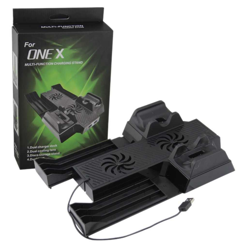 3 в 1 вертикальная стойка/крепление для Xbox One X игровой консоли Вентилятор охлаждения беспроводной игровой контроллер зарядное устройство зарядн