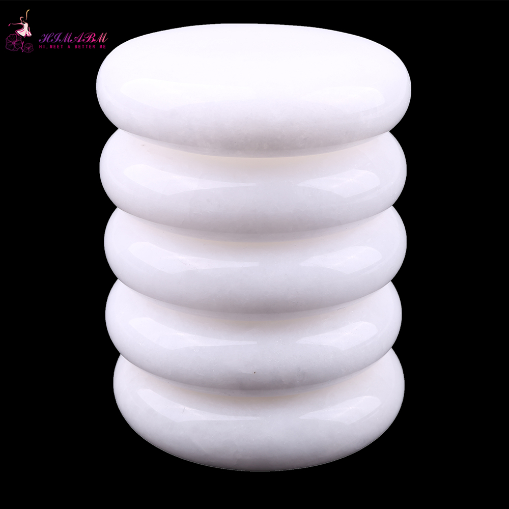 HIMABM 5 Pieces White jade SPA Hot Stone Massage Basalt Rocks Basalt Stone Oval Shape New Mini set Cold Lava Natural 8*8cm