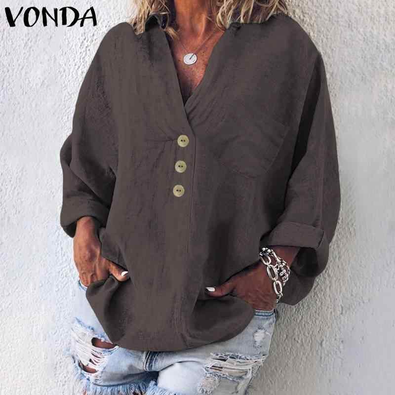 VONDA модная блузка женская повседневная с v-образным вырезом с длинным рукавом и пуговицами вниз блузки 2019 осенние Рубашки винтажные свободные топы плюс размер Blusas