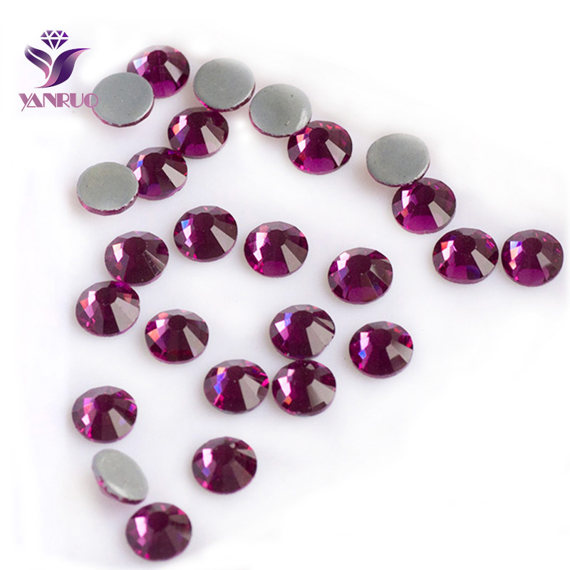 YANRUO Fuchsia Hot Fix Flat Back Rhinestone Strass Heat Iron Rhinestones Stones Crystal For Clothing