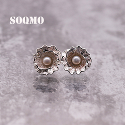 SOQMO 100% Real Pure 925 Sterling Silver Jewelry Flower & Simulated Pearl Earrings for Women Lady Party Gifts Bijoux SQM097