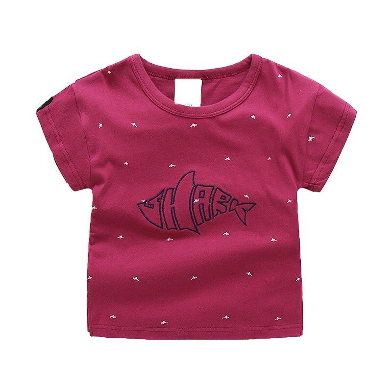 Для рыбы с коротким Футболка с рукавами летняя одежда для мальчиков; детский мультфильм футболки