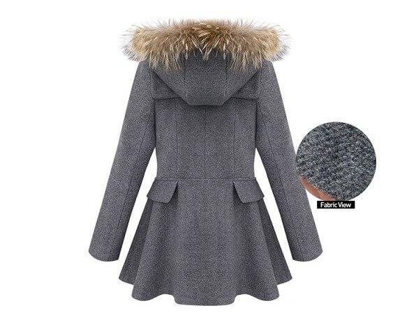 Wollmantel M Winter Outwear BlauGrau 2018 Zweireiher Frauen Kaschmir Herbst Mit Kapuze Damen ntel Mantel Mode Mischung Pelzkragen Y67ybfg