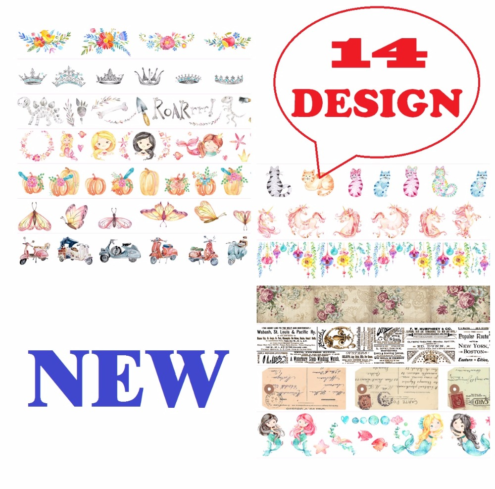 14Design NEW Flowers/Horse/Dinosaurs/Cats/Mermaid/Butterfly Japanese Washi Decorative Adhesive DIY Masking Paper Tape Sticker ultimate sticker book dangerous dinosaurs